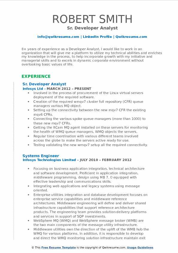 Sr. Developer Analyst Resume Template