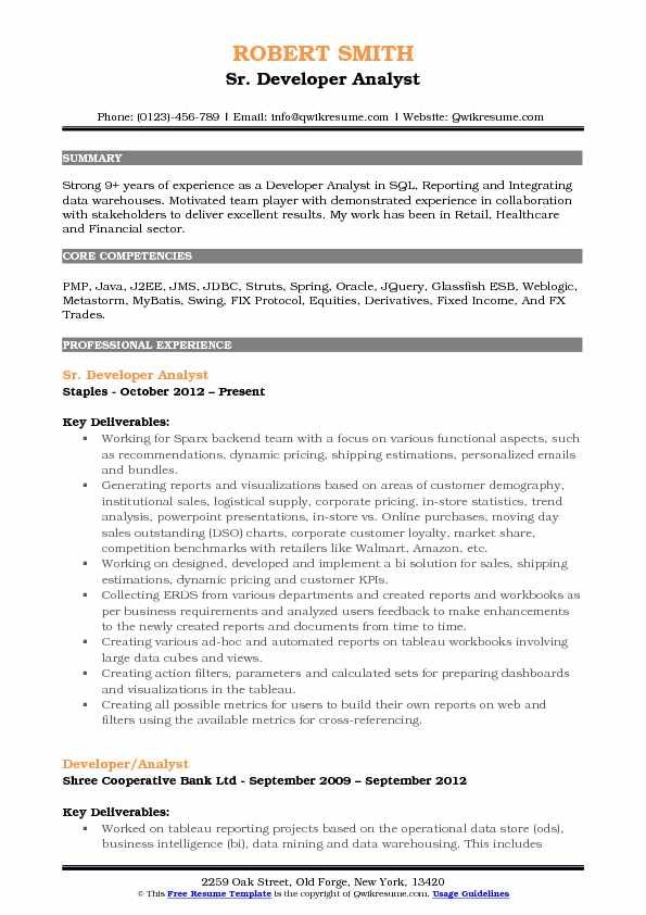 Sr. Developer Analyst Resume Model