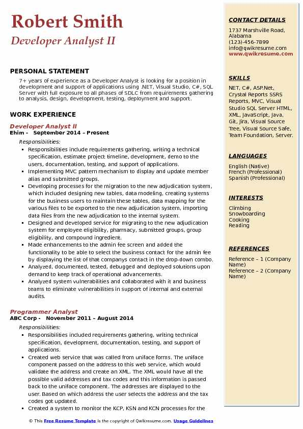 Developer Analyst II Resume Example