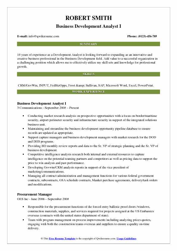Business Development Analyst I Resume Model