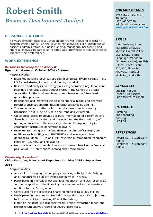 Business Development Analyst Resume Model