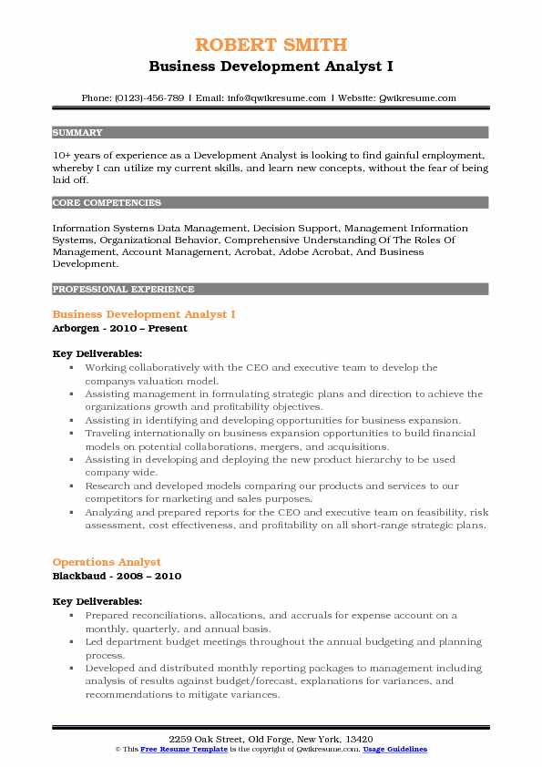 Business Development Analyst I Resume Format