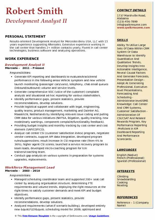Development Analyst II Resume Model