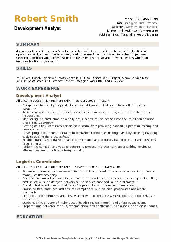 Development Analyst Resume example