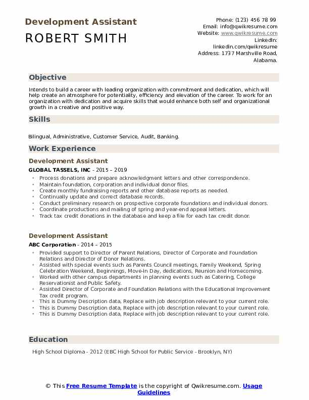 Development Assistant Resume example