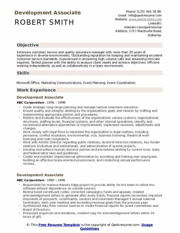 Development Associate Resume Template