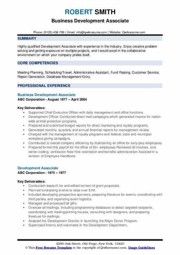 Business Development Associate Resume Sample