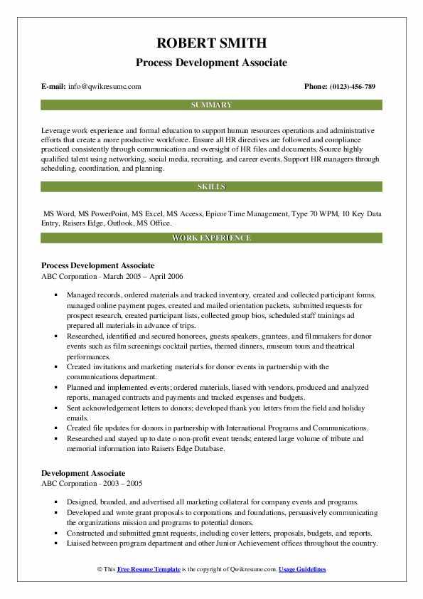 Process Development Associate Resume Sample