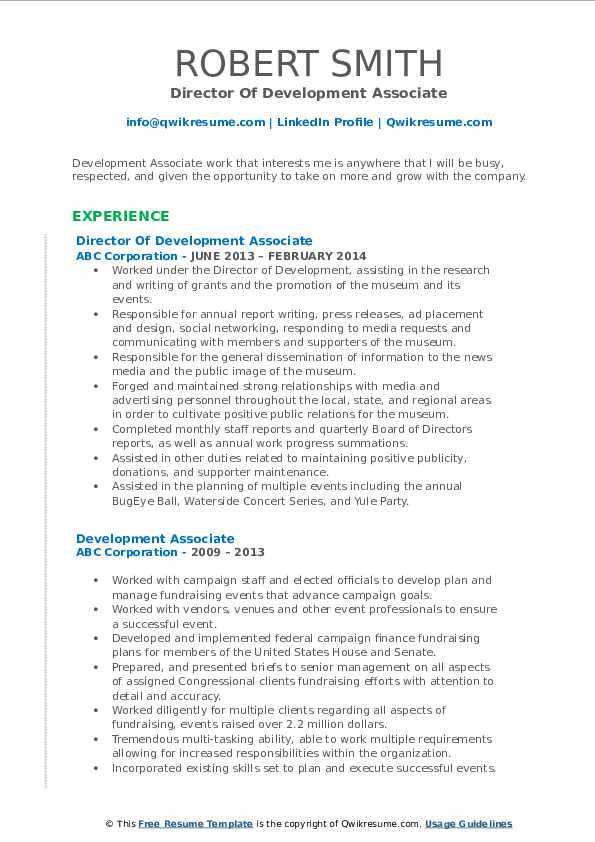 Director Of Development Associate Resume Template