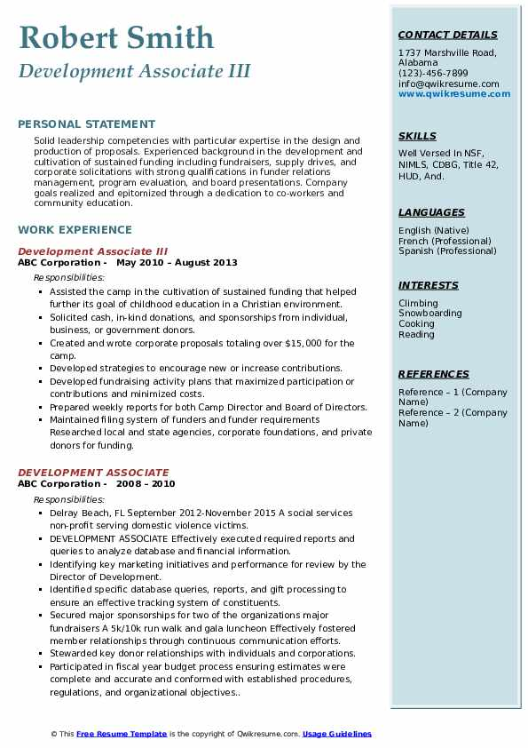 Development Associate III Resume Sample