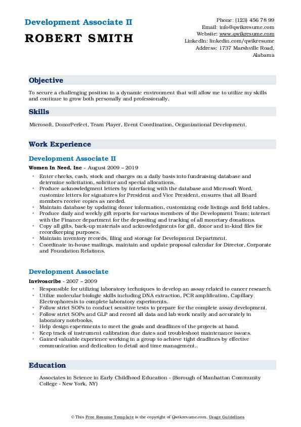 Development Associate II Resume Sample