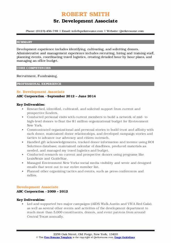 Sr. Development Associate Resume Template
