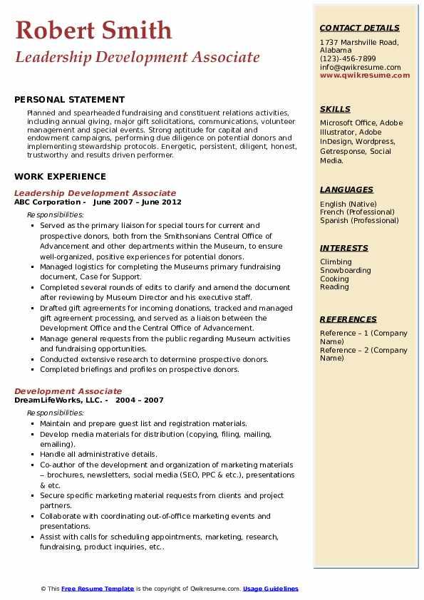 Leadership Development Associate Resume Format