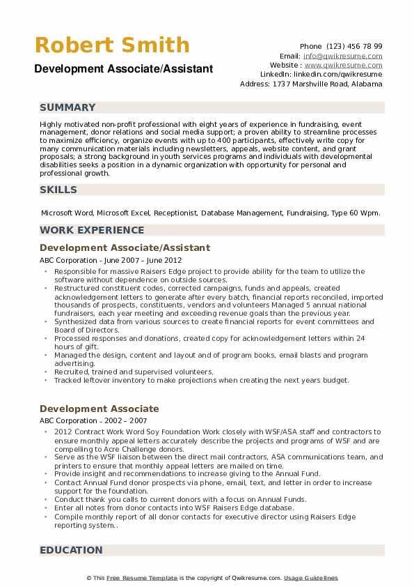 Development Associate/Assistant Resume Model