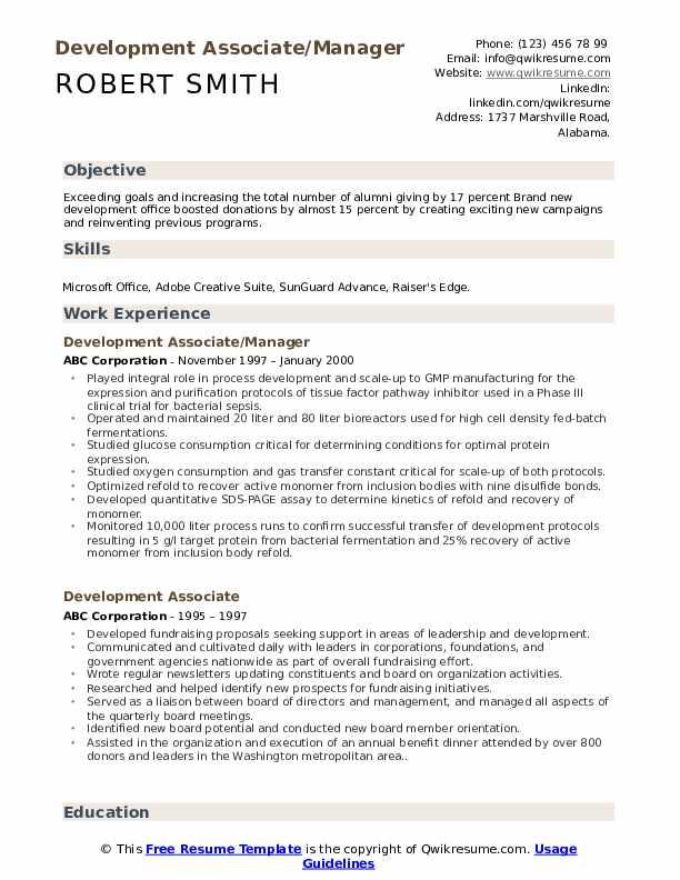 Development Associate/Manager Resume Model