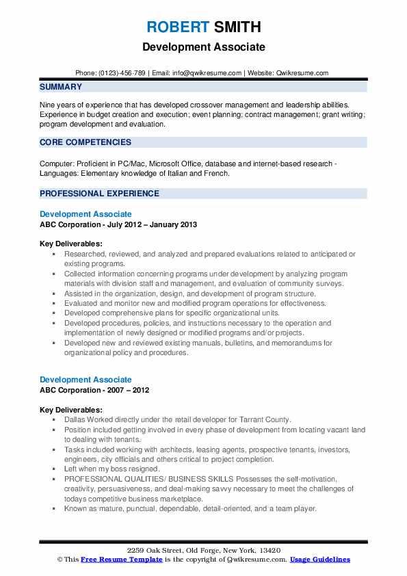 Development Associate Resume example