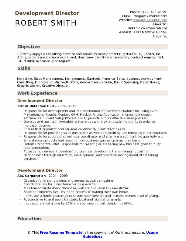 Development Director Resume Model