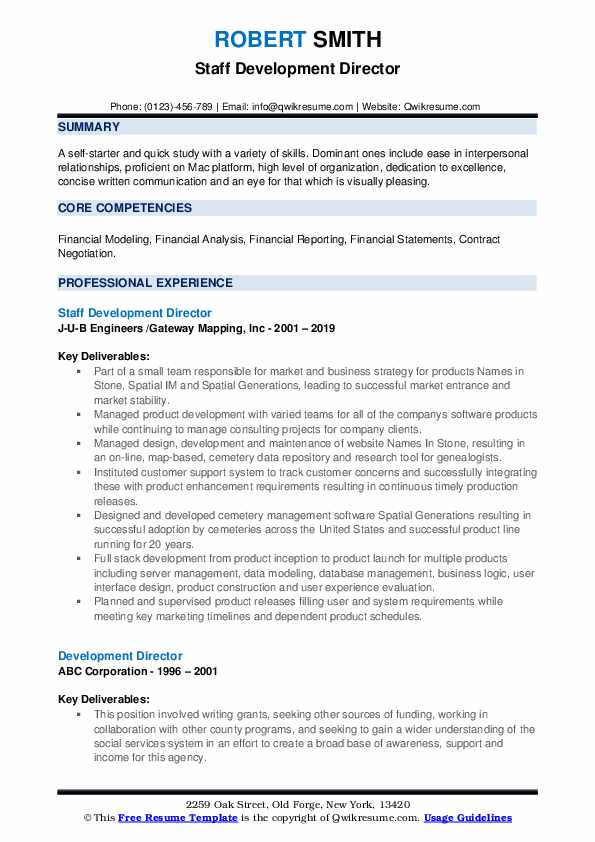 Staff Development Director Resume Example