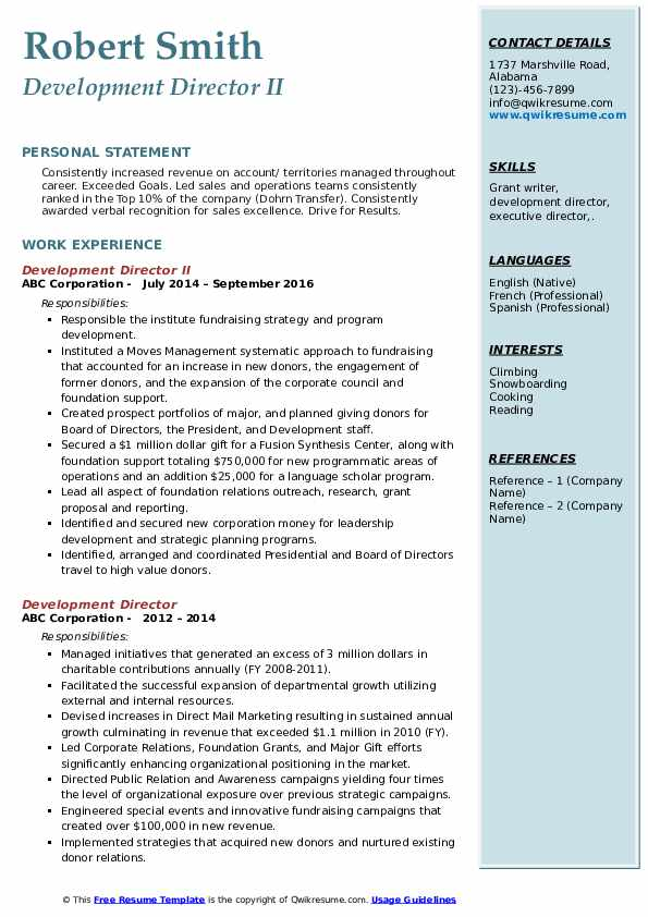 Development Director II Resume Format