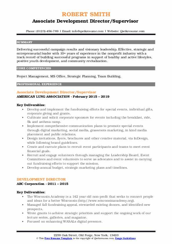Associate Development Director/Supervisor  Resume Sample