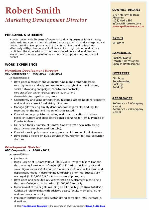 Marketing Development Director Resume Template
