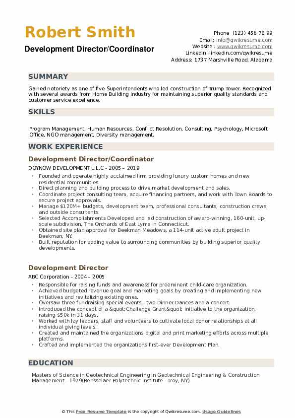 Development Director/Coordinator Resume Sample