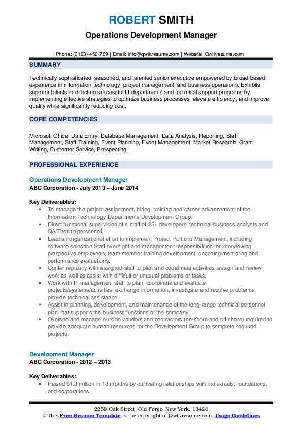 Operations Development Manager Resume Format