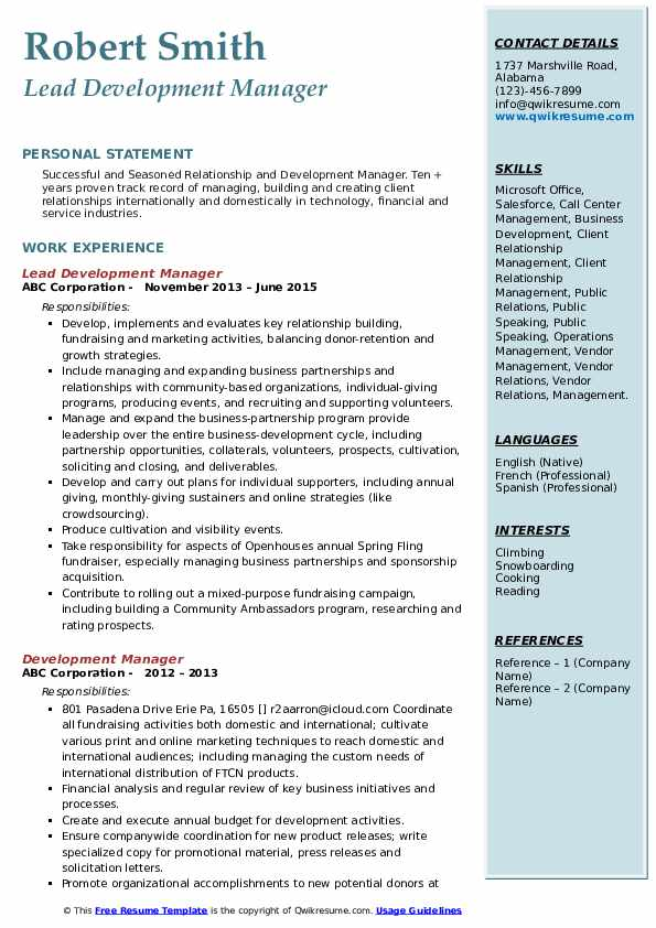 Lead Development Manager Resume Template