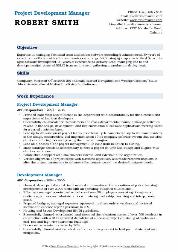 Project Development Manager Resume Sample
