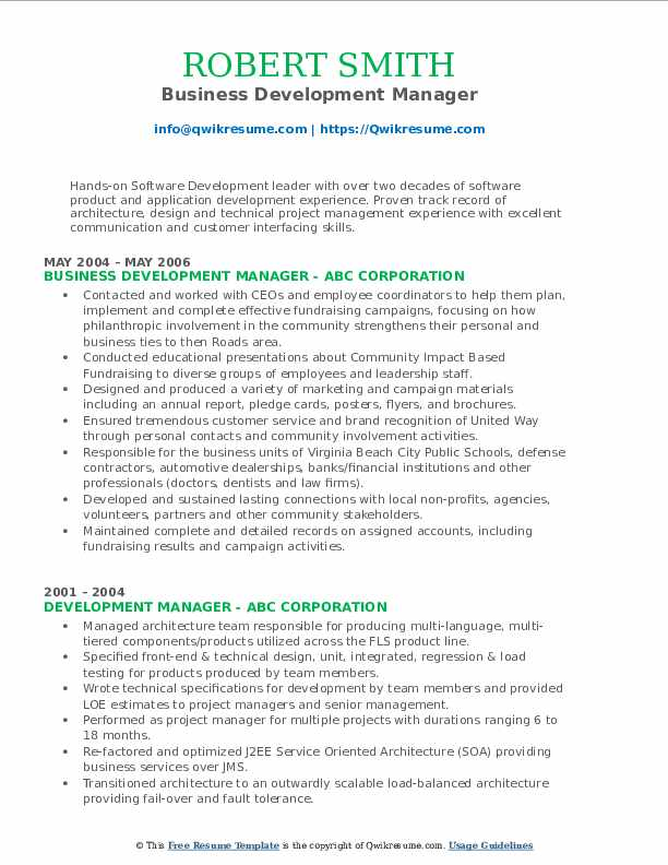 Business Development Manager Resume Format