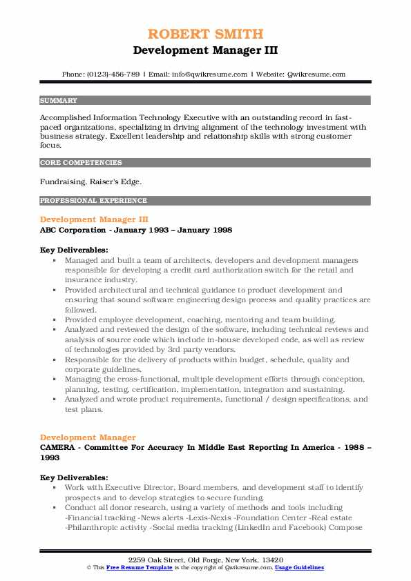 Development Manager III Resume Format