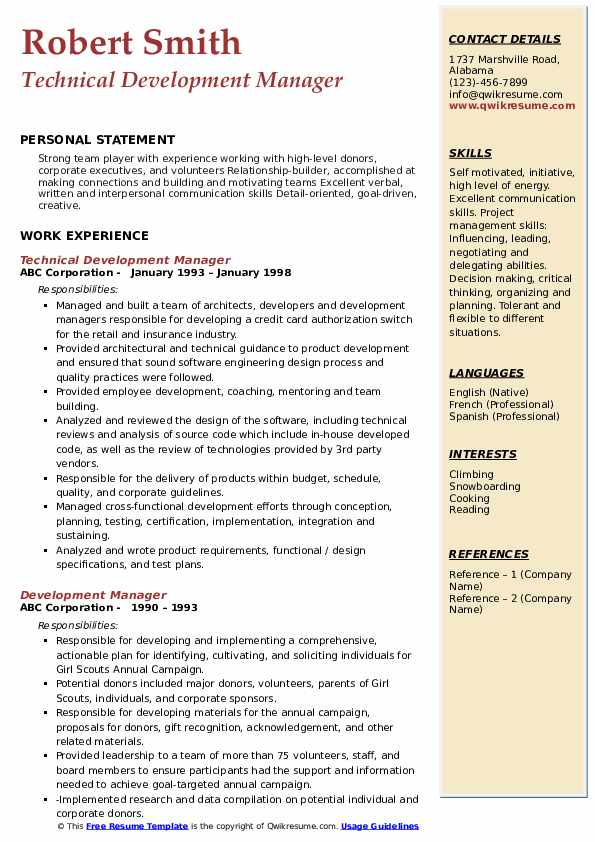 Technical Development Manager Resume Template