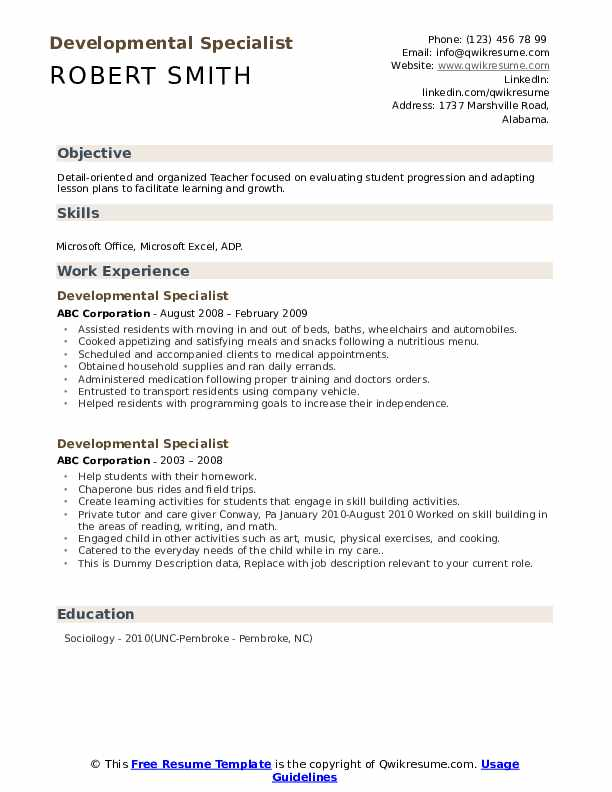 Developmental Specialist Resume example