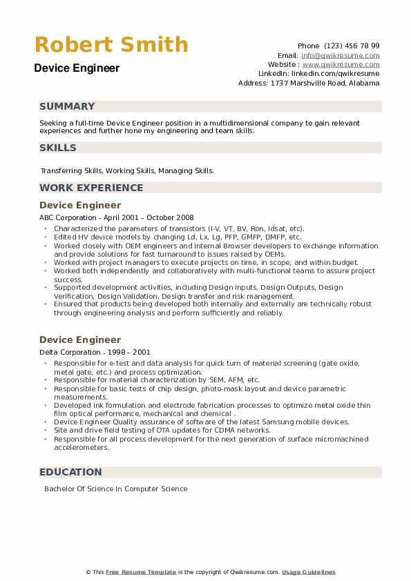 Device Engineer Resume example