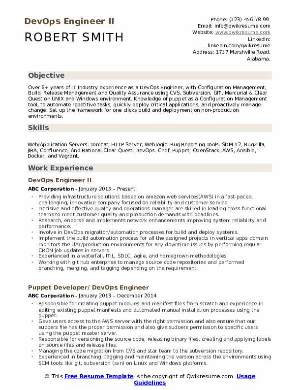 DevOps Engineer II Resume Sample