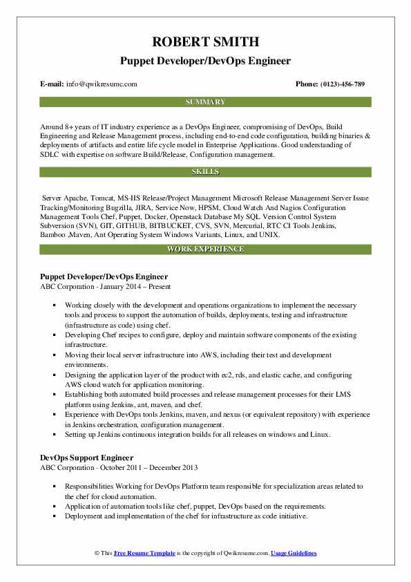 Puppet Developer/DevOps Engineer Resume Format