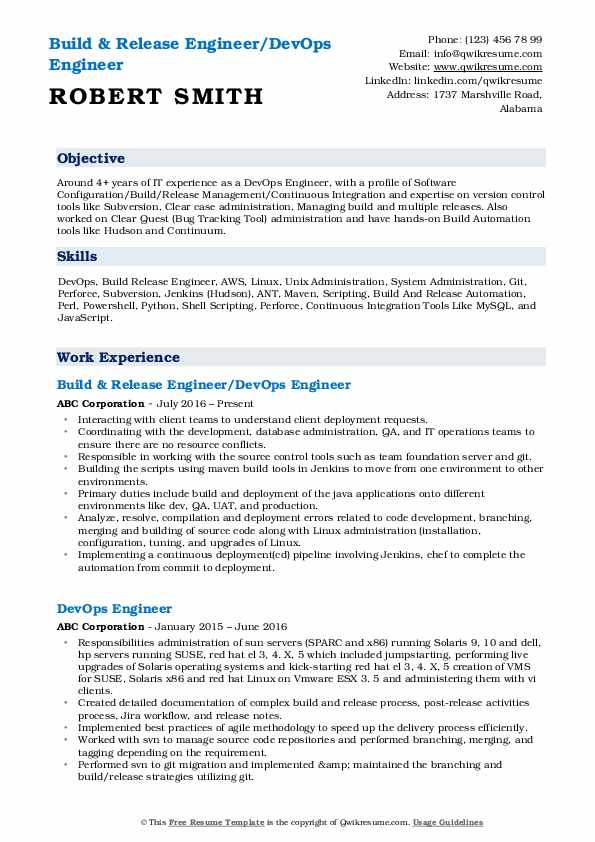 Build & Release Engineer/DevOps Engineer Resume Sample