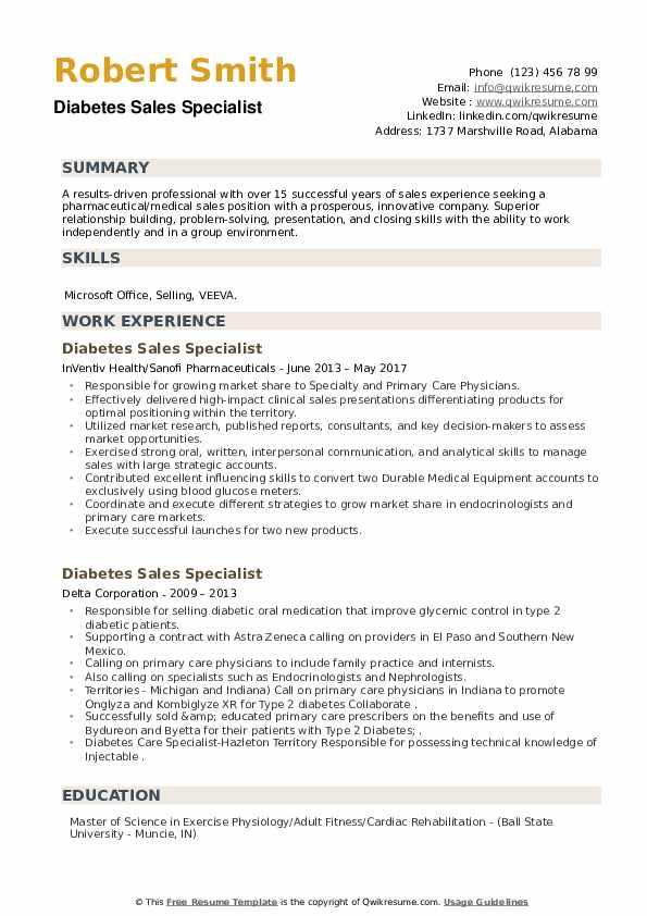 Diabetes Sales Specialist Resume example