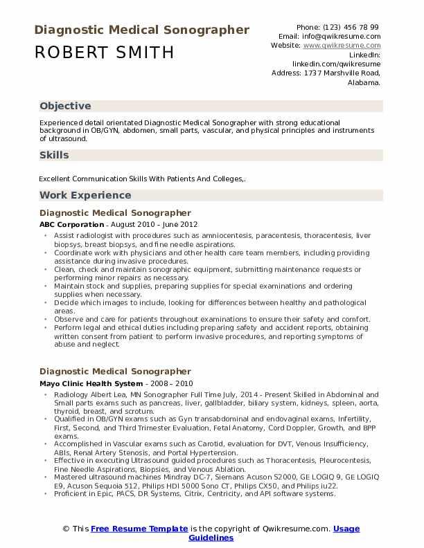 diagnostic medical sonographer resume samples
