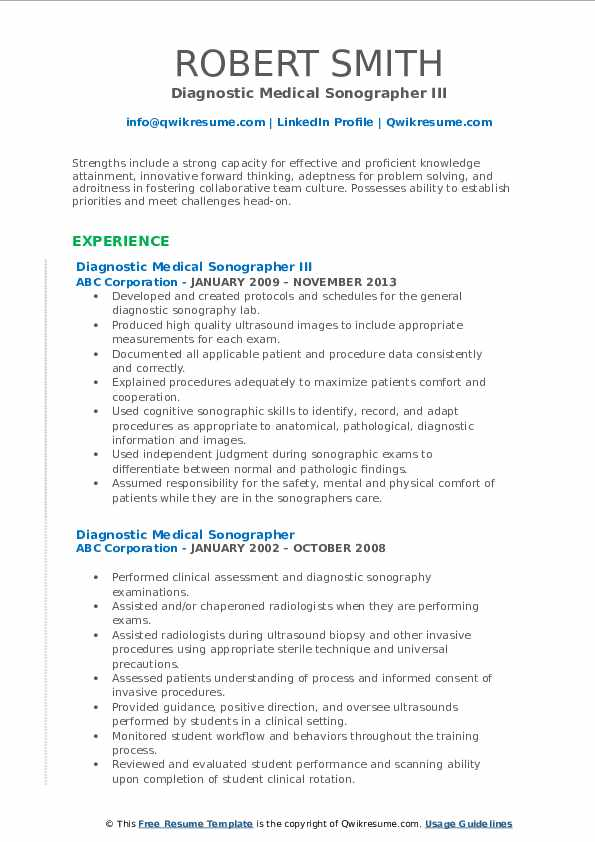 Diagnostic Medical Sonographer III Resume Template
