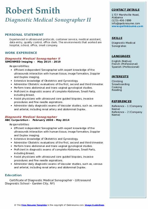 Diagnostic Medical Sonographer II Resume Template