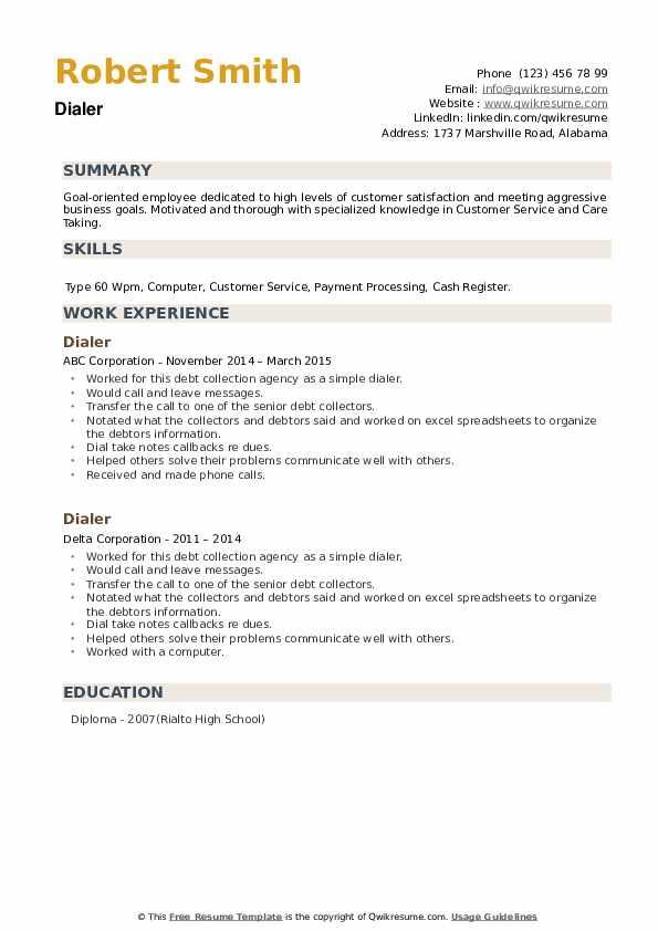 Dialer Resume example