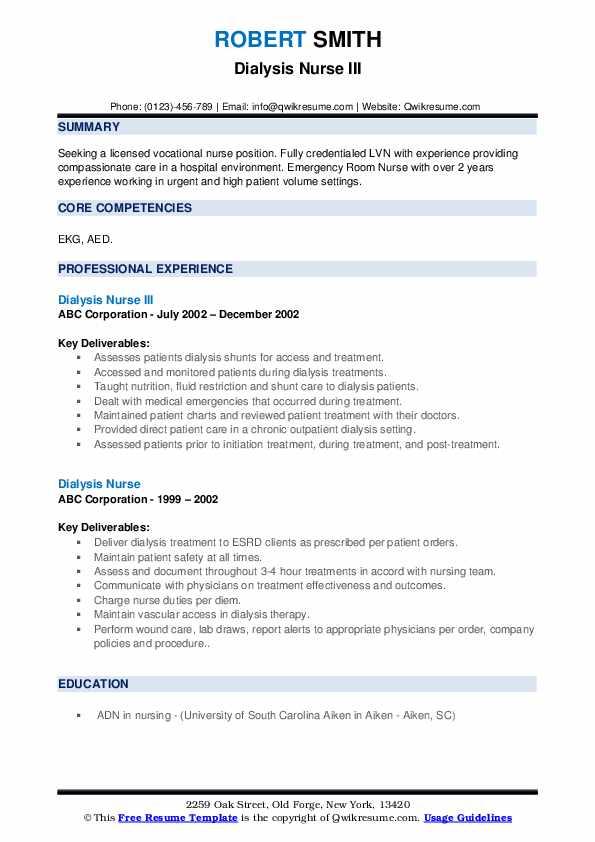 Dialysis Nurse III Resume Model