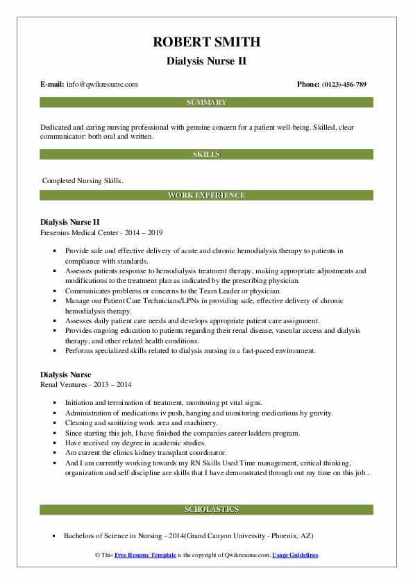 dialysis nurse resume samples