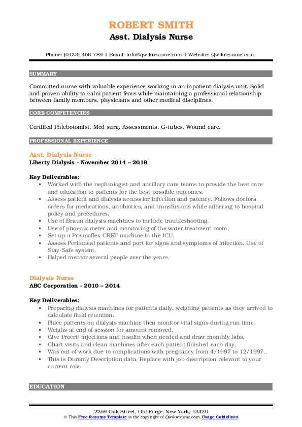 Asst. Dialysis Nurse Resume Model