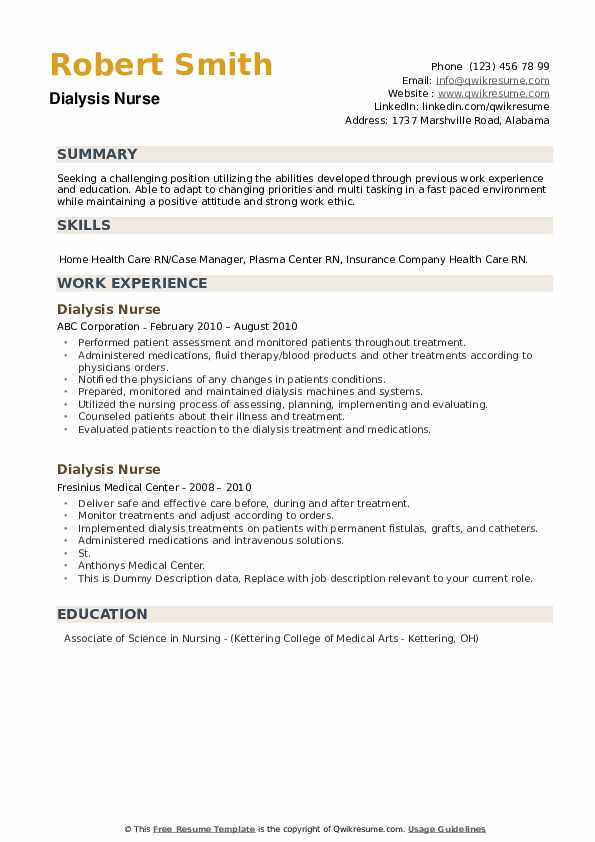 Dialysis Nurse Resume Samples Qwikresume