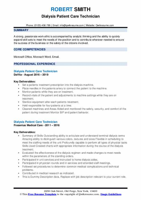 Dialysis Patient Care Technician Resume example