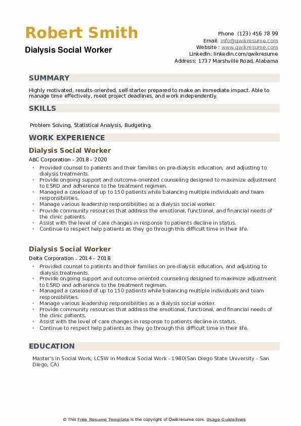 Dialysis Social Worker Resume example