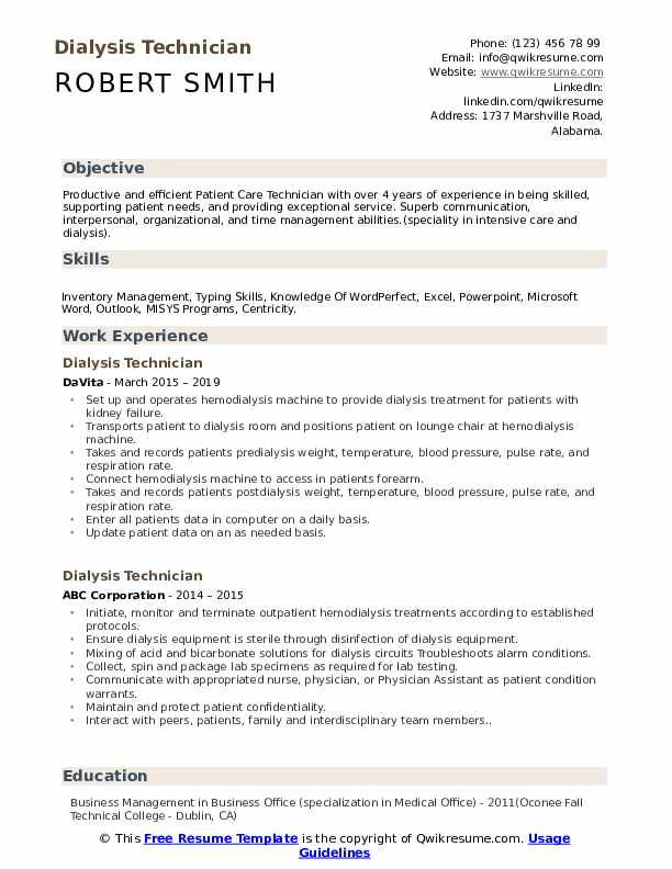 Dialysis Technician Resume Samples | QwikResume