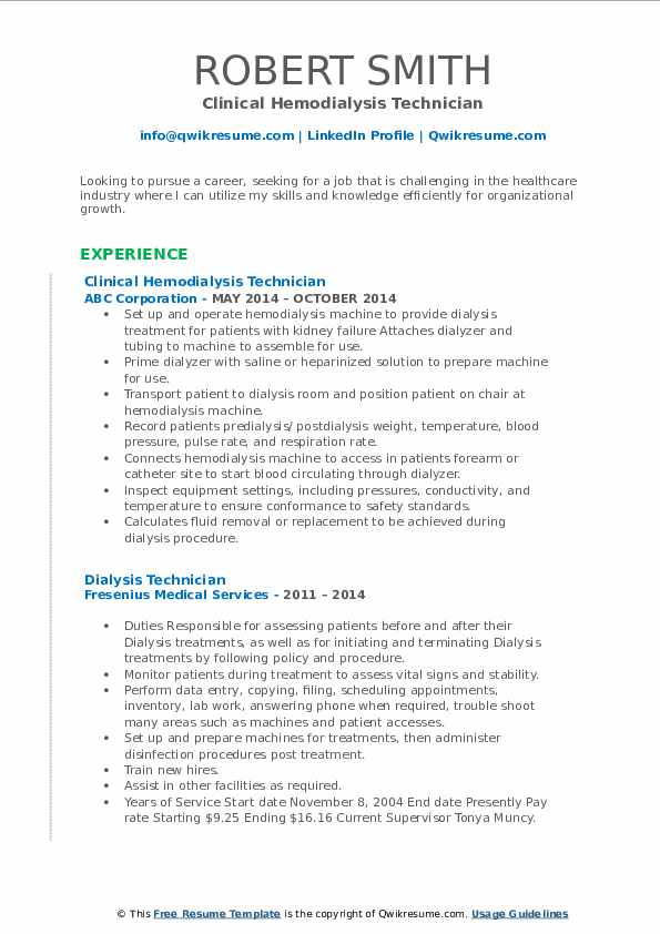 dialysis technician resume samples